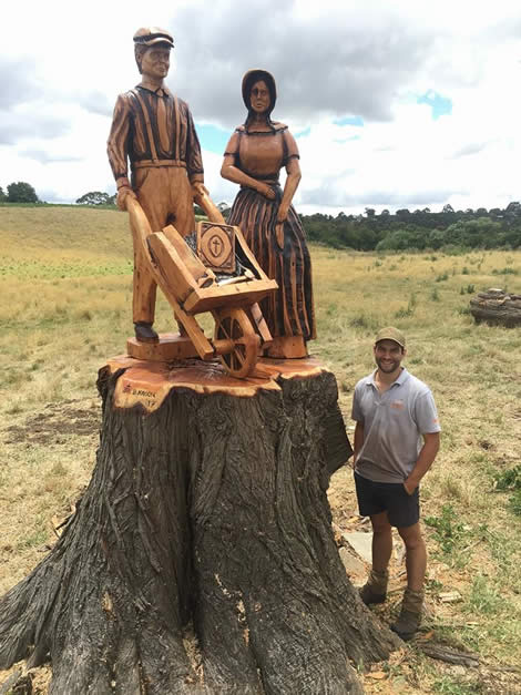Transformed tree stump carving